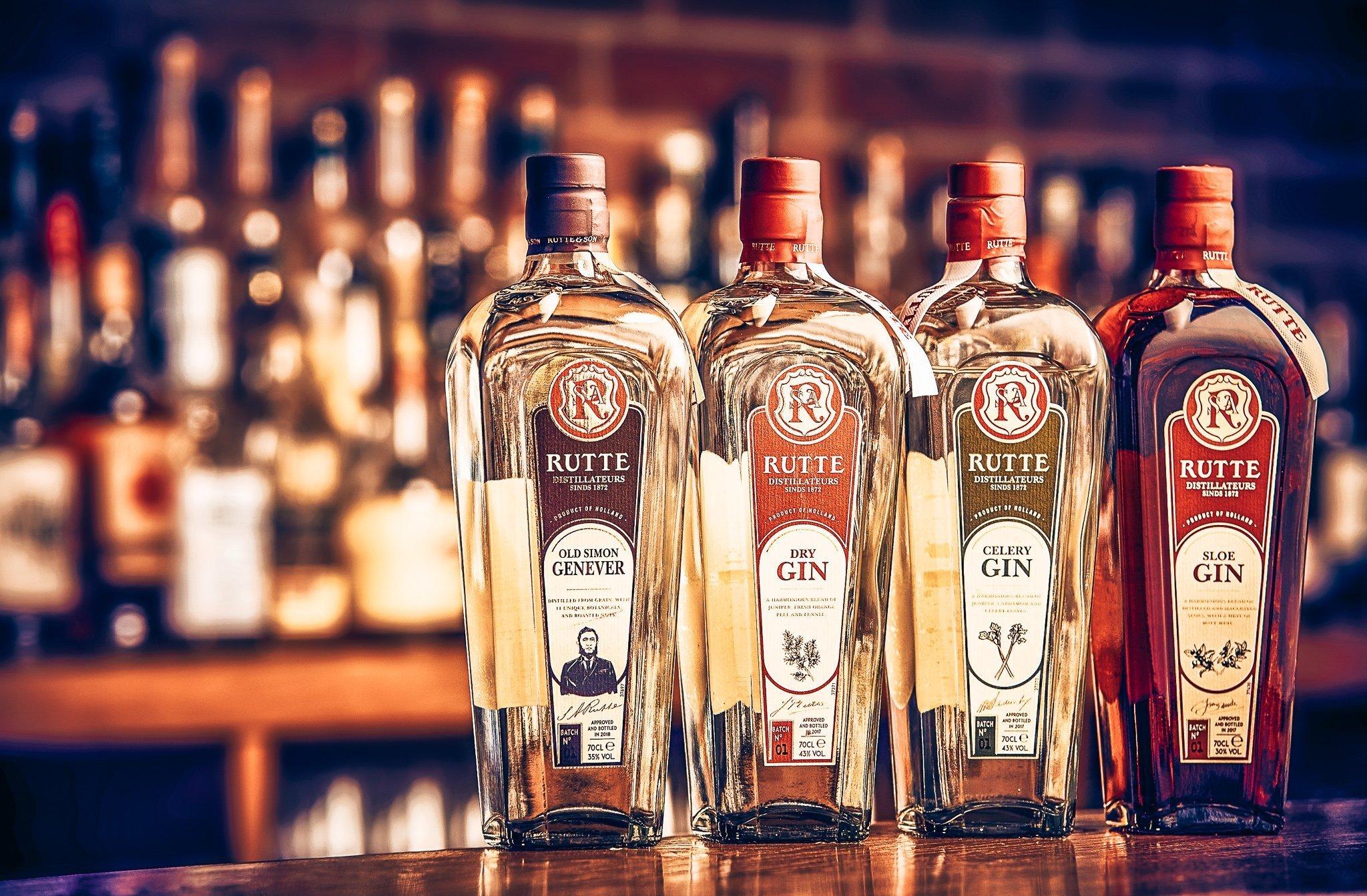 Rutte Gin range, Distilleerderij Rutte, Alles over gin.