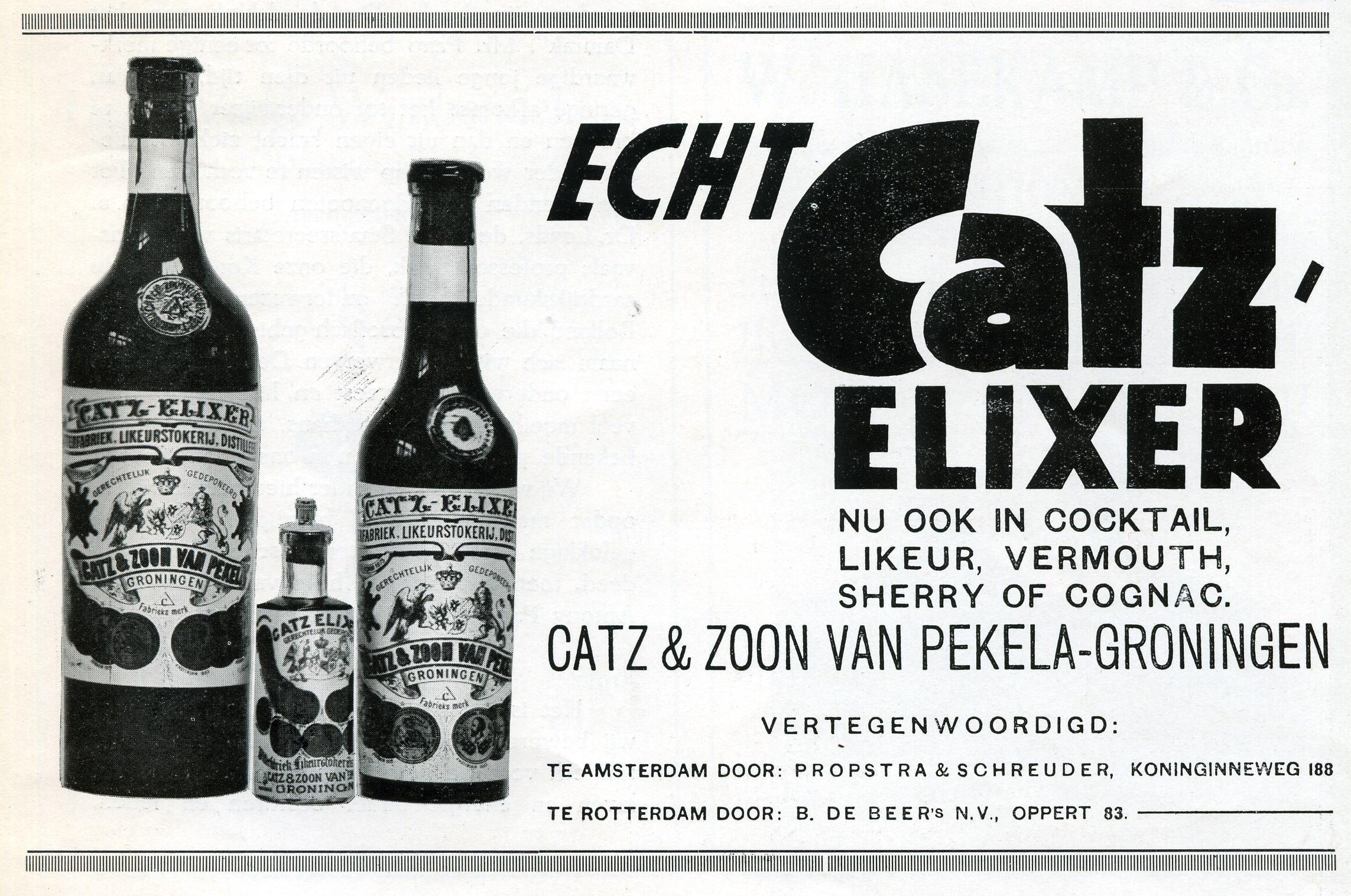 Catz elixer, historie, Alles over gin.