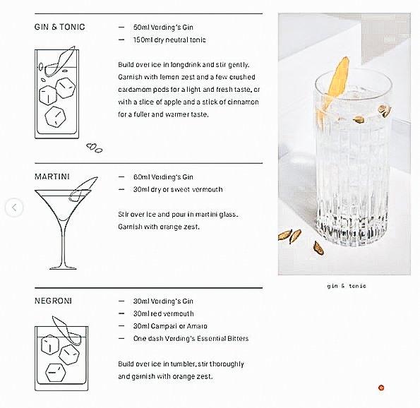 Menukaart voor Vordings Gin, Alles over gin.