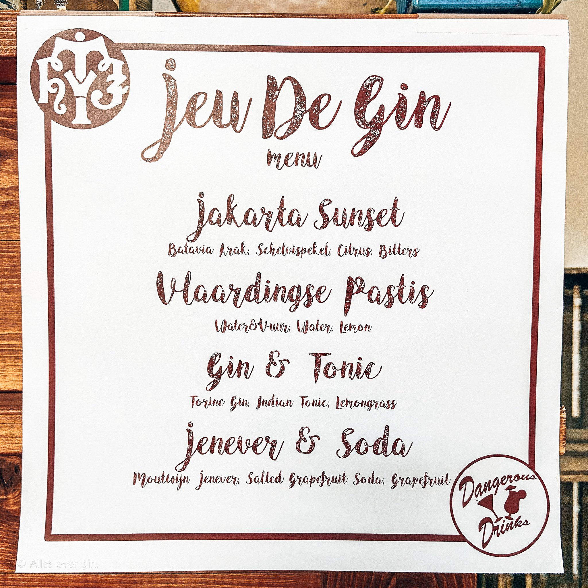 Menukaart JeuDeGin, Distilleerderij Van Toor, Alles over gin.