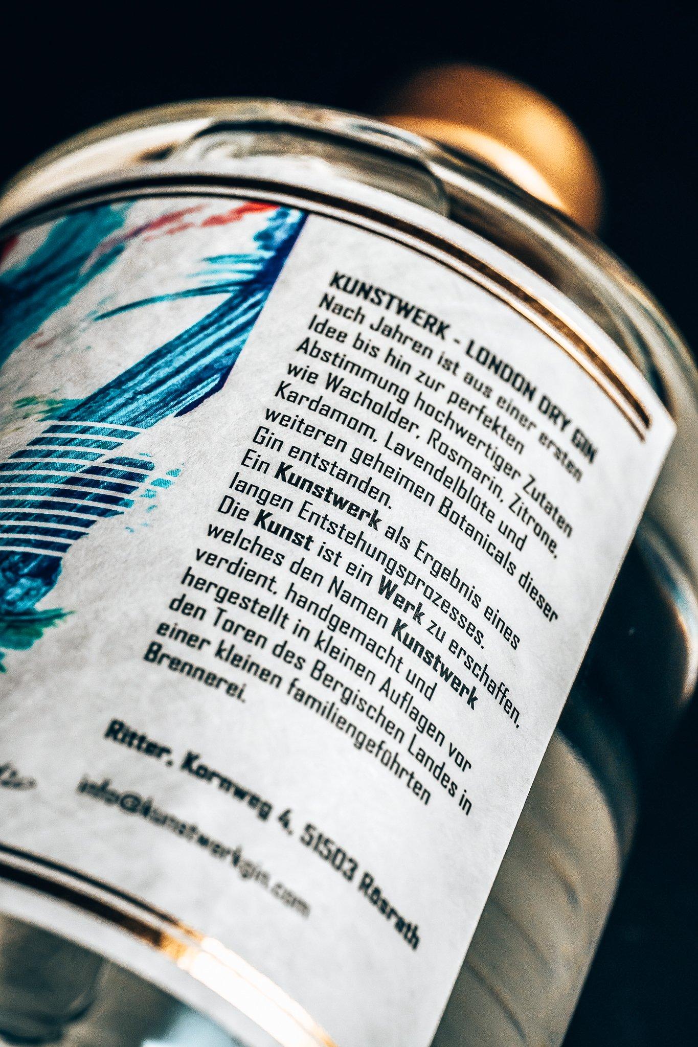 Kunstwerkgin label achterzijde, Alles over gin.